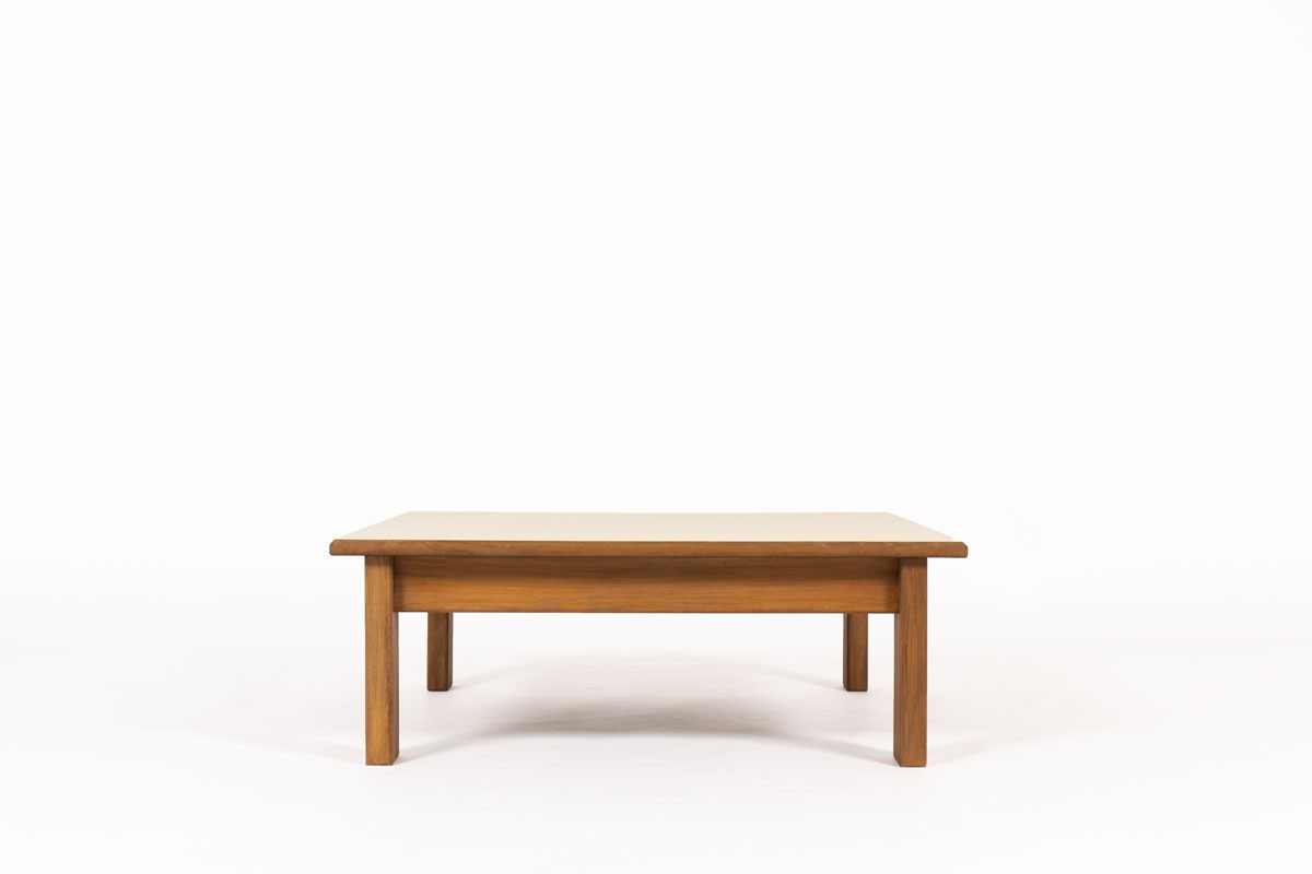 Andre Sornay square coffee table in tinted beech and laminate top 1960