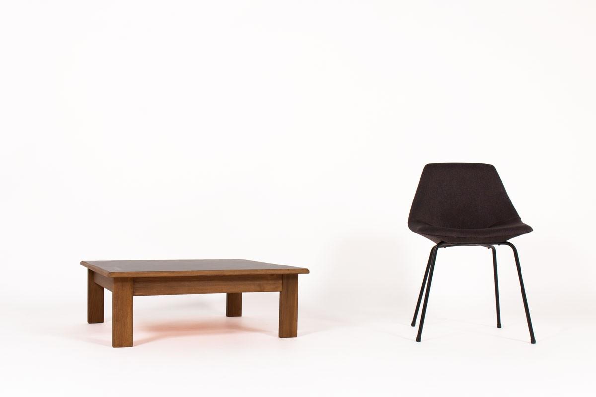 Table basse carrée André Sornay hêtre teinté et plateau stratifié 1960