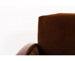 Fauteuils velours marron et chêne design Art Déco 1930 set de 2
