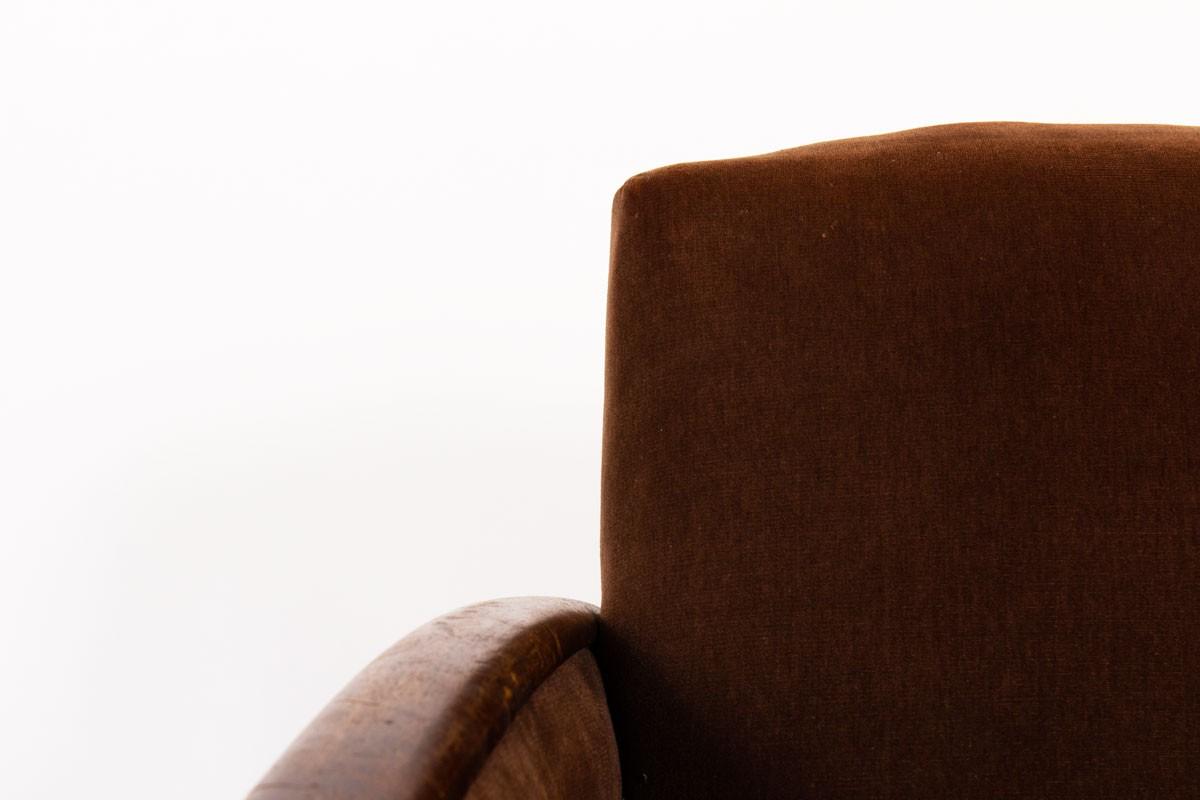Armchairs in brown velvet and oak Art Deco design 1930 set of 2