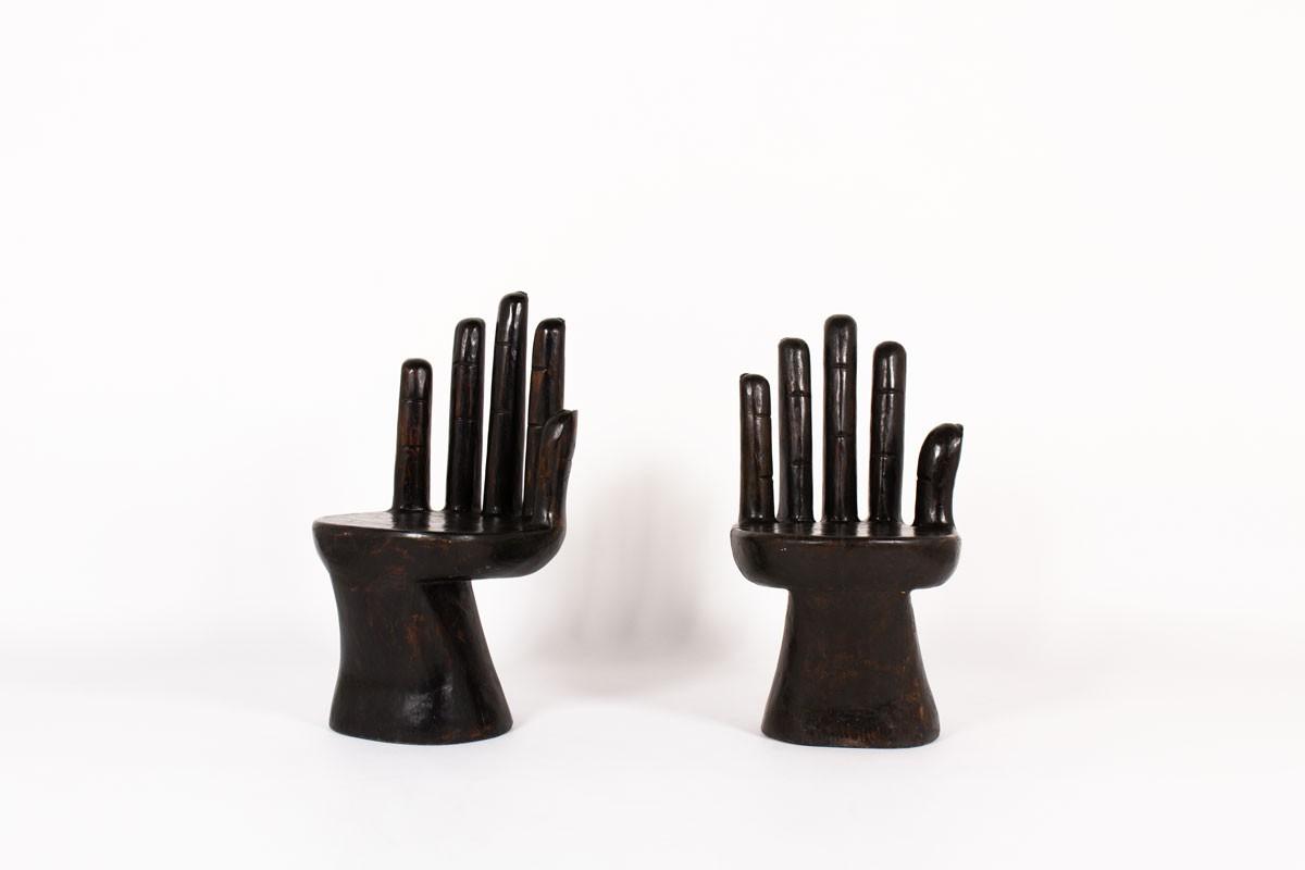 Fauteuils modèle Main en bois 1950 set de 2