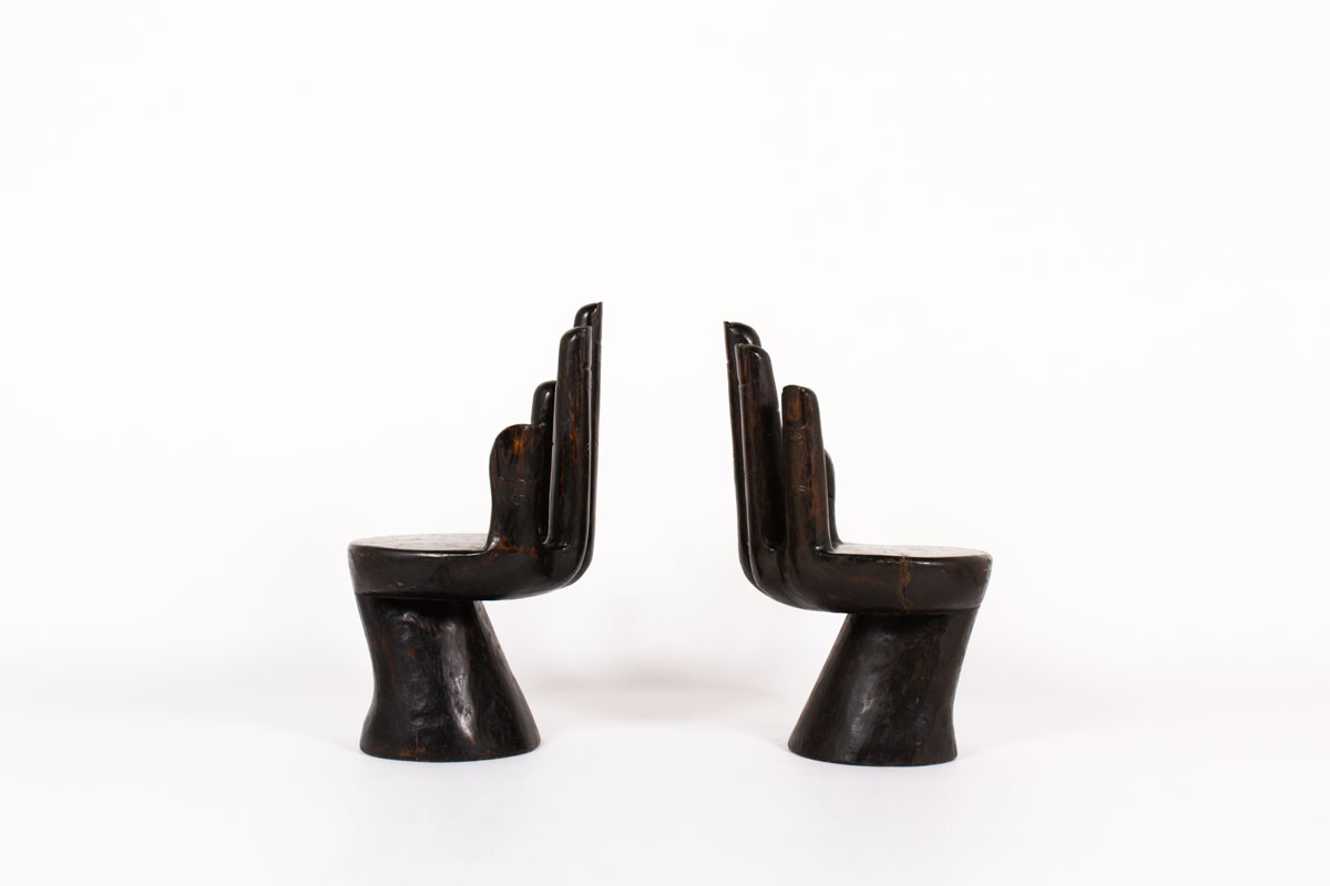 Armchairs model Hand in wood 1950 set of 2