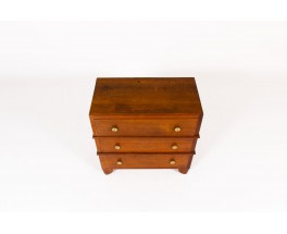 Chest of drawers in oak and brass Art Deco design 1930