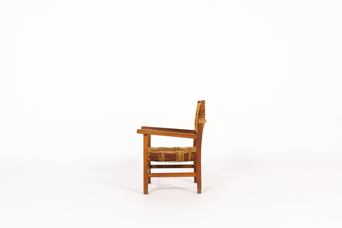 Armchair for kids in oak and rope 1950
