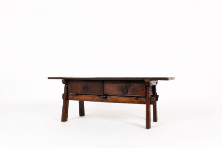 Folk art coffee table in oak brutalist design 19th century