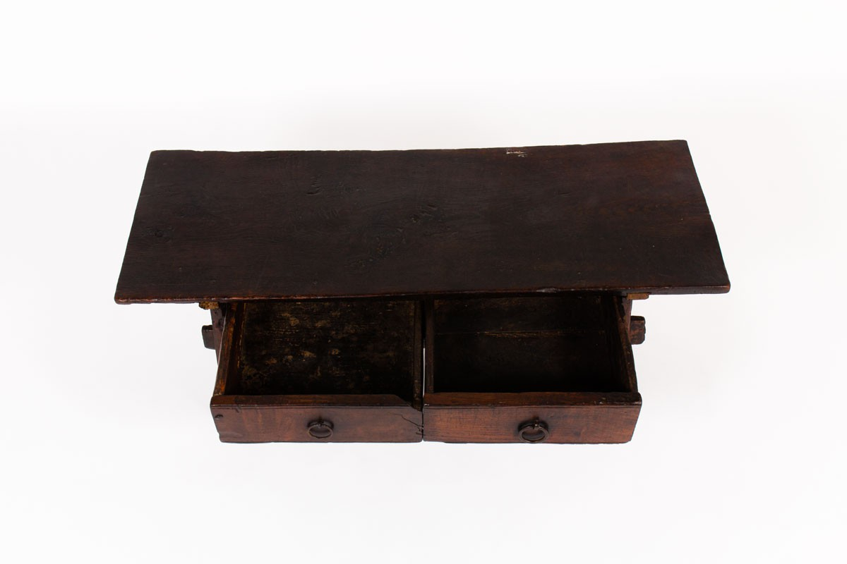 Folk art coffee table in oak brutalist design 19th century