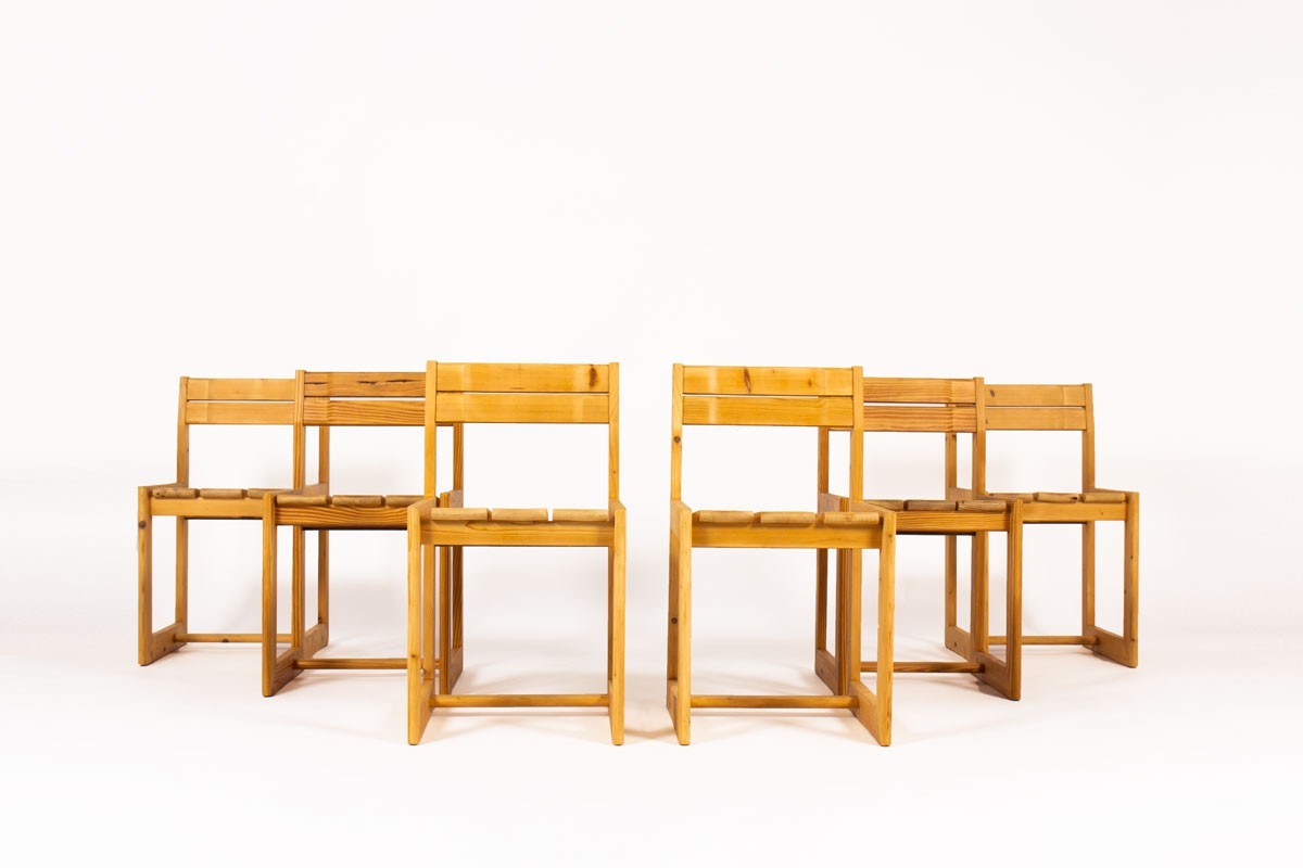 Andre Sornay chairs in pine 1960 set of 6