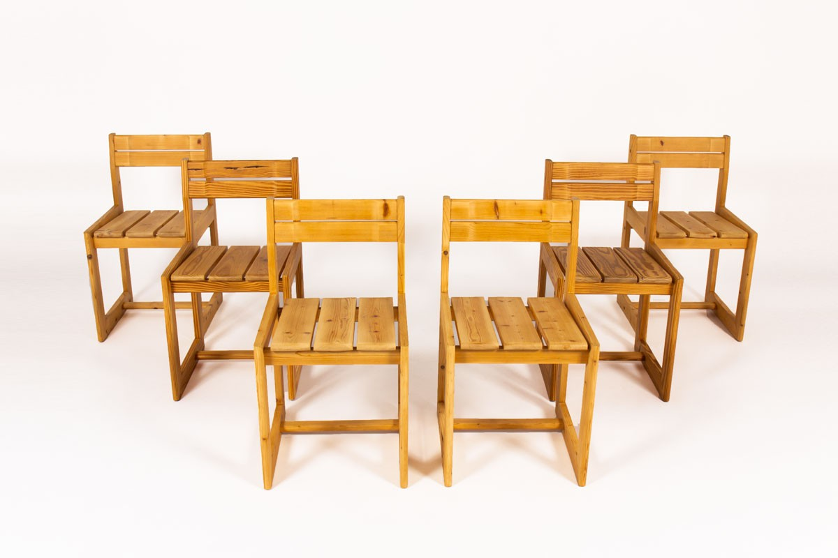 Chaises André Sornay en pin 1960 set de 6