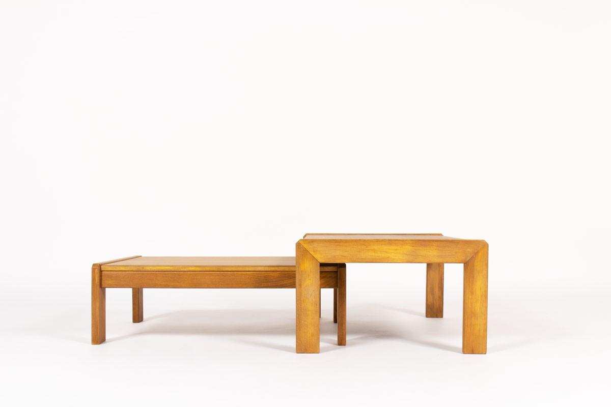 Tables basses gigognes André Sornay hêtre teinté 1960 set de 2