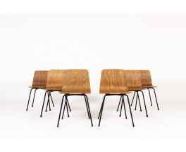 Pierre Guariche chairs model Papyrus edition Steiner 1950 set of 6