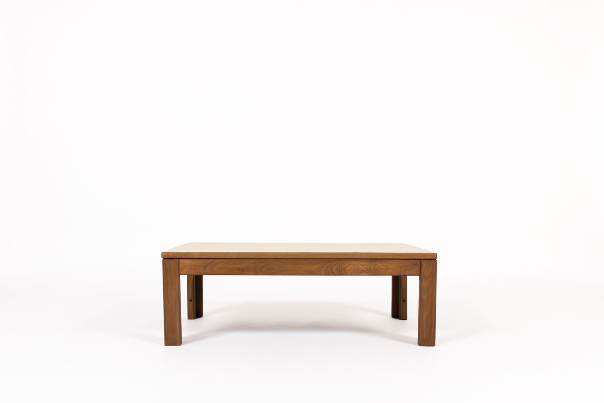 Andre Sornay rectangular coffee table in tinted beech and beige laminate 1960