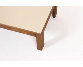 Table basse rectangulaire André Sornay hêtre teinté et stratifié beige 1960