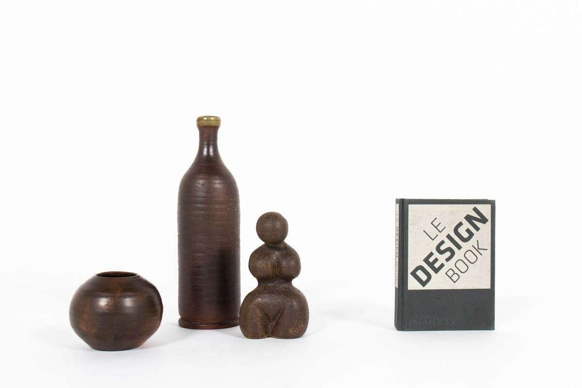 Brown ceramic accessories 1950 set of 3