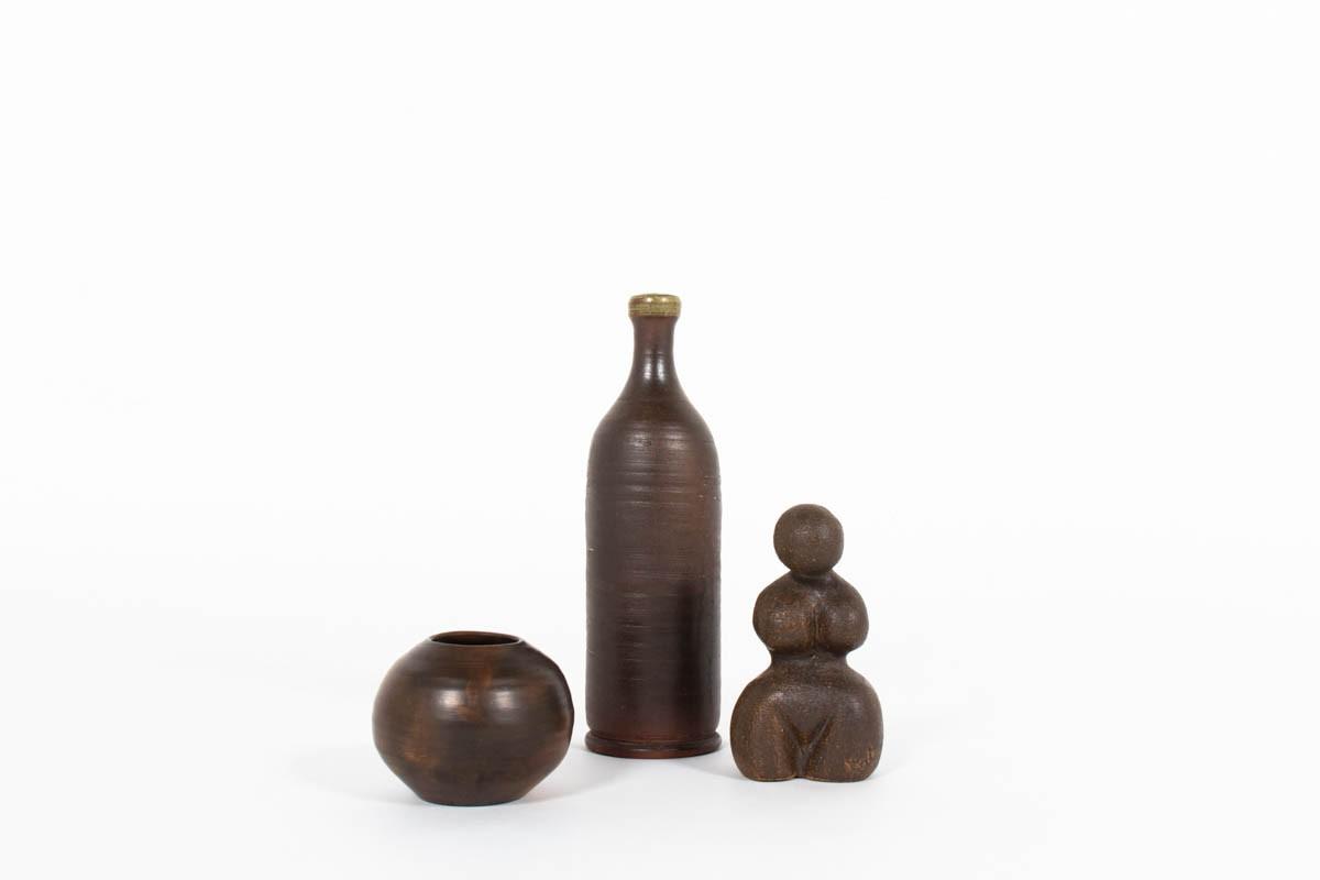 Accessoires en céramique marron 1950 set de 3