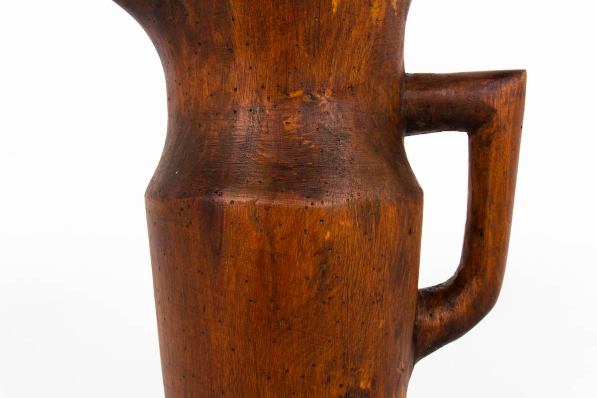 Monoxyl wooden pitcher folk art 1950