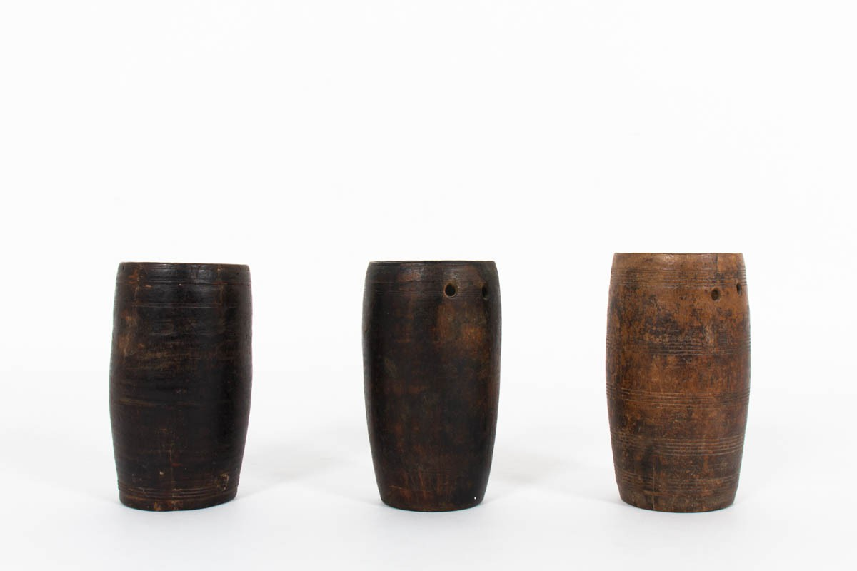Folk Art carved wooden vases early 19th century set of 3