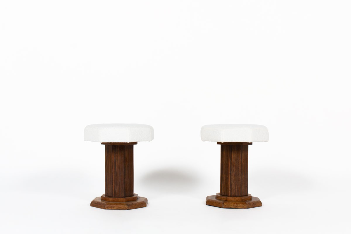 Stools in wood and Maison Thevenon fabric Art deco design 1930 set of 2