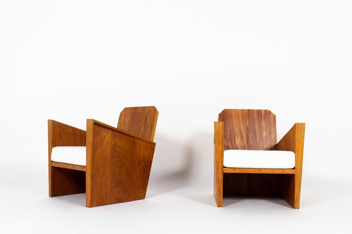 Armchairs in mahogany and Maison Thevenon fabric Brazilian design 1950 set of 2
