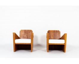 Fauteuils acajou massif et tissu Maison Thevenon design brésilien 1950 set de 2