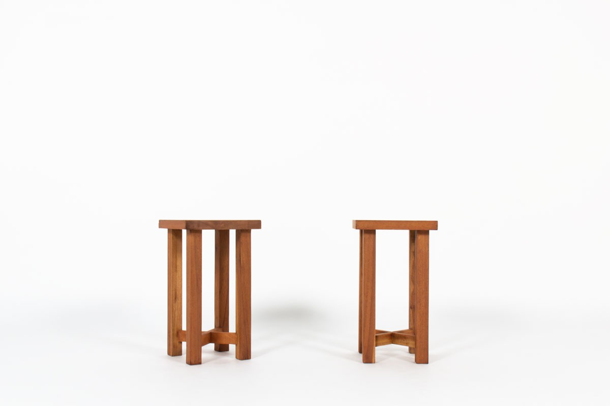 Stools in mahogany 1950 set of 2