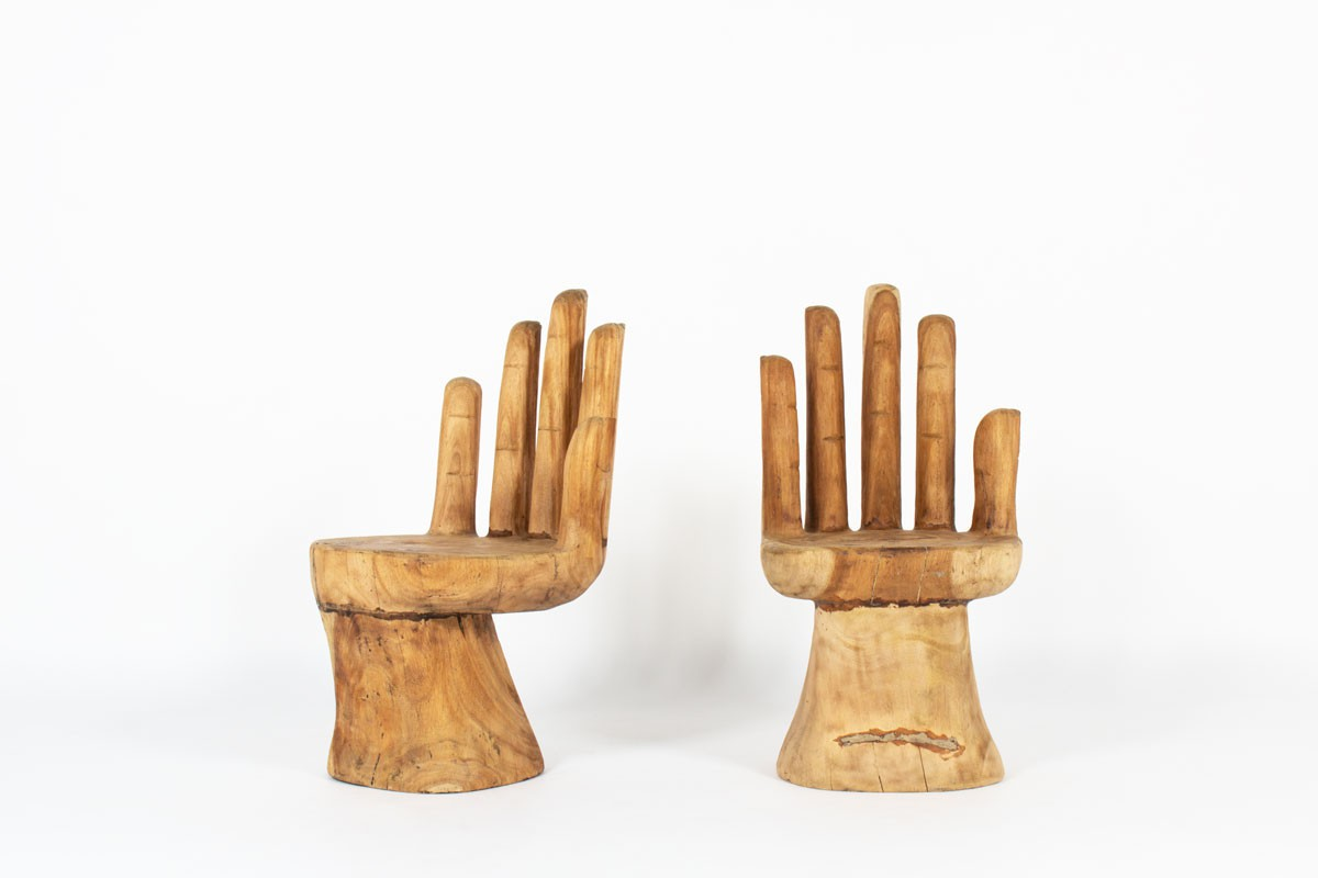 Monoxyl armchairs model Hand raw wood 1950 set of 2