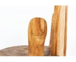 Fauteuils monoxyles modèle Main bois brut 1950 set de 2