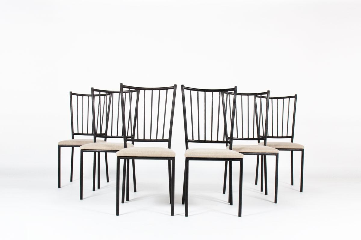 Chaises en métal noir et assise lin Maison Thevenon 1950 set de 6