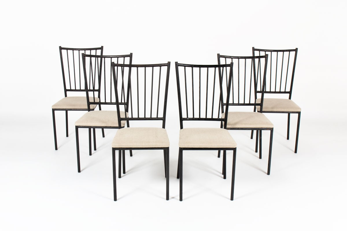 Chairs in black metal and linen seat by Maison Thevenon 1950 set of 6