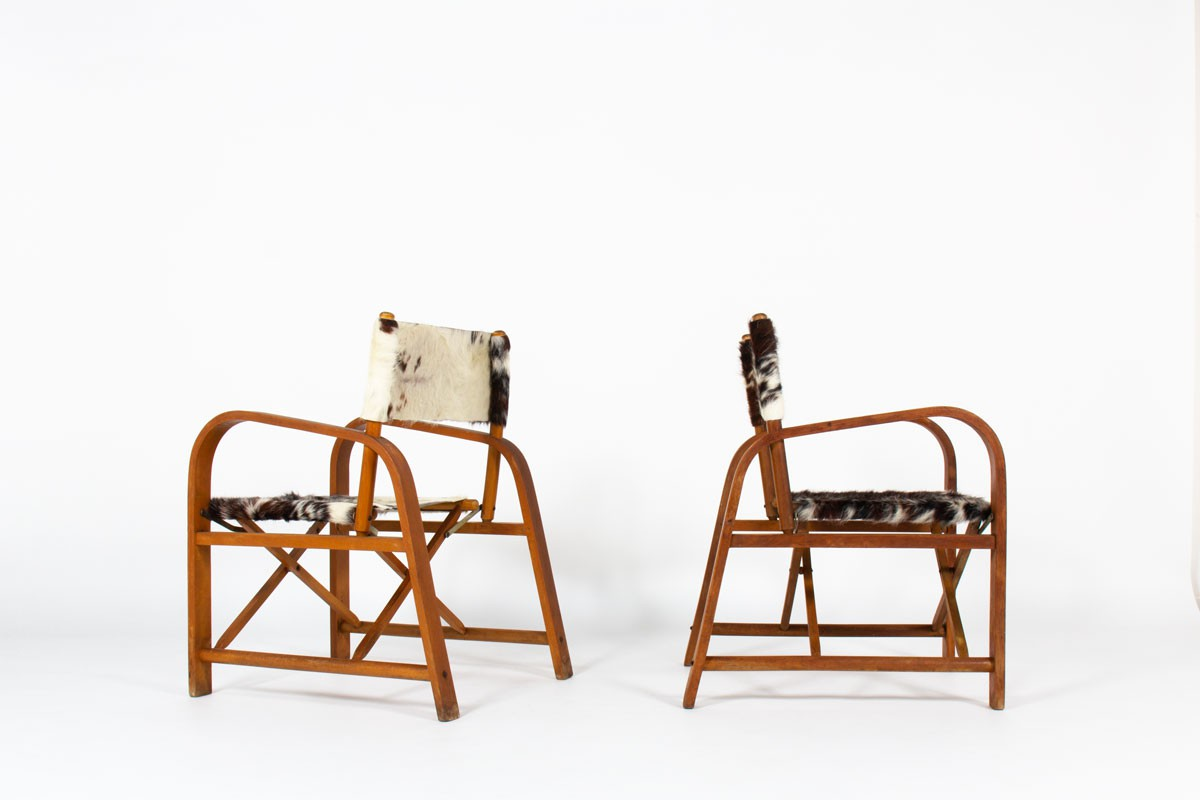 Folding armchairs in beech and cowhide seat 1950 set of 2