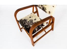 Fauteuils pliants hêtre et assise peau de vache 1950 set de 2