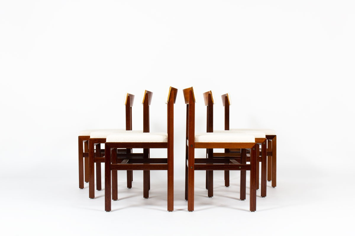 Andre Sornay chairs in mahogany and Maison Thevenon fabric 1960 set of 6