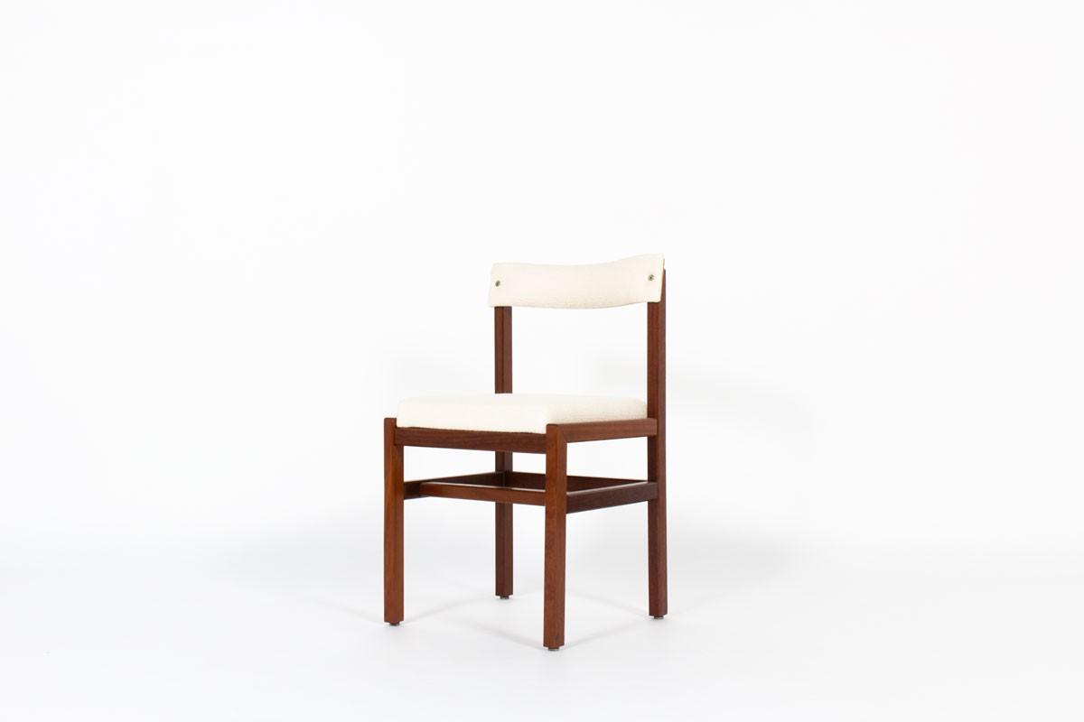 Chaises André Sornay en acajou et tissu Maison Thevenon 1960 set de 6