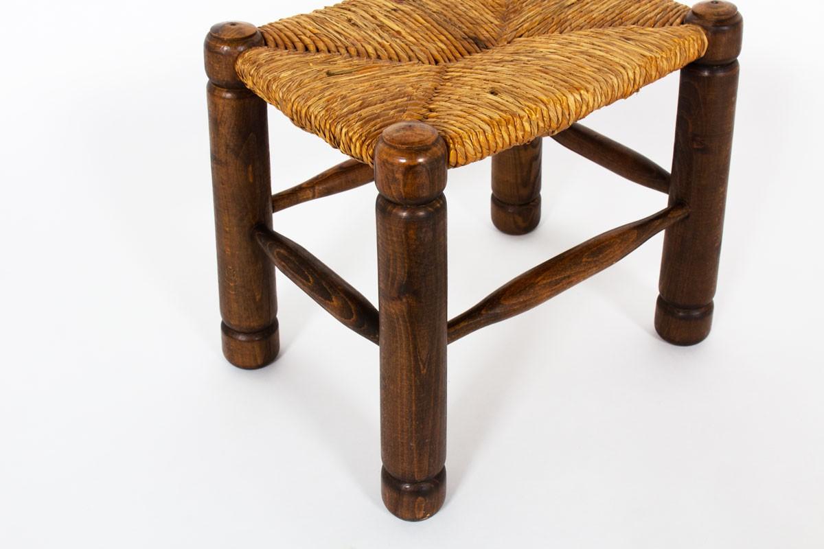 Tabouret chêne et assise paillée 1950