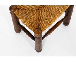 Stool in oak with straw seat 1950