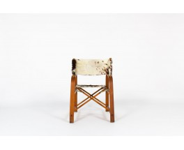 Folding armchair in beech and cowhide seat 1950
