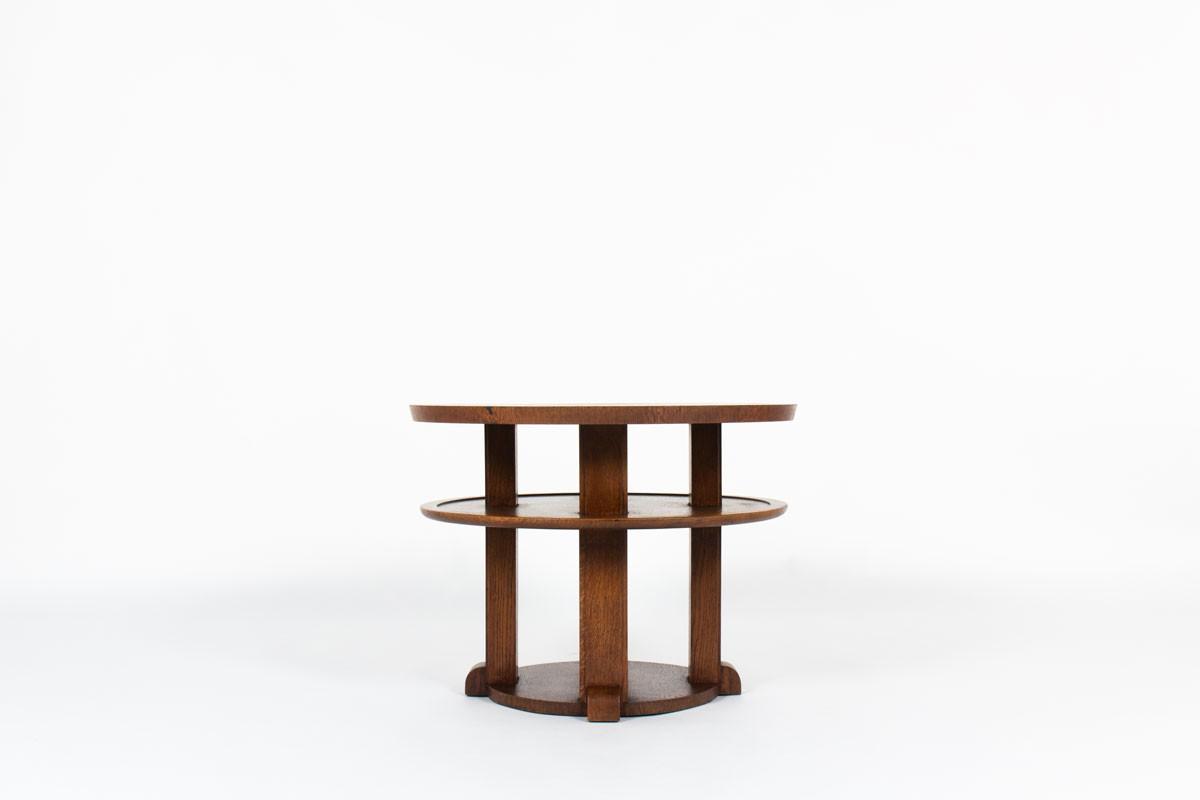 Guéridon rond en chêne design Art Déco 1930