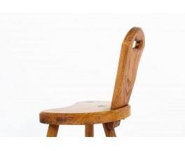 Chairs in oak brutalist design 1950 set of 3