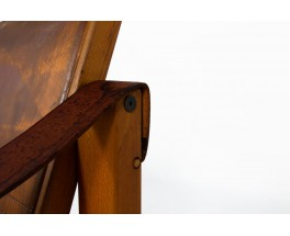 Pierre Chapo armchair S10 model in elm and brown leather 1960
