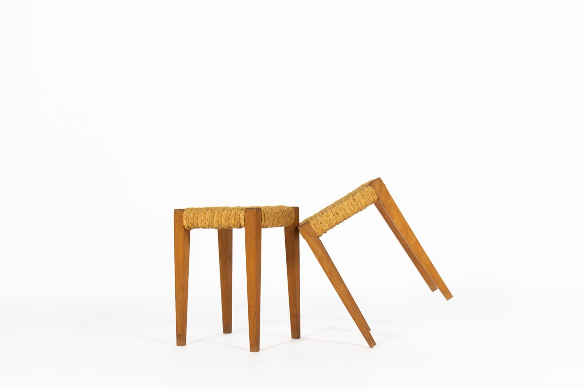 Audoux & Minet stools in oak and rope 1950 set of 2