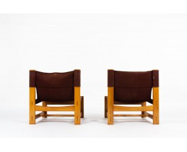 Low chairs in elm and burgundy fabric edition Maison Regain 1980 set of 2
