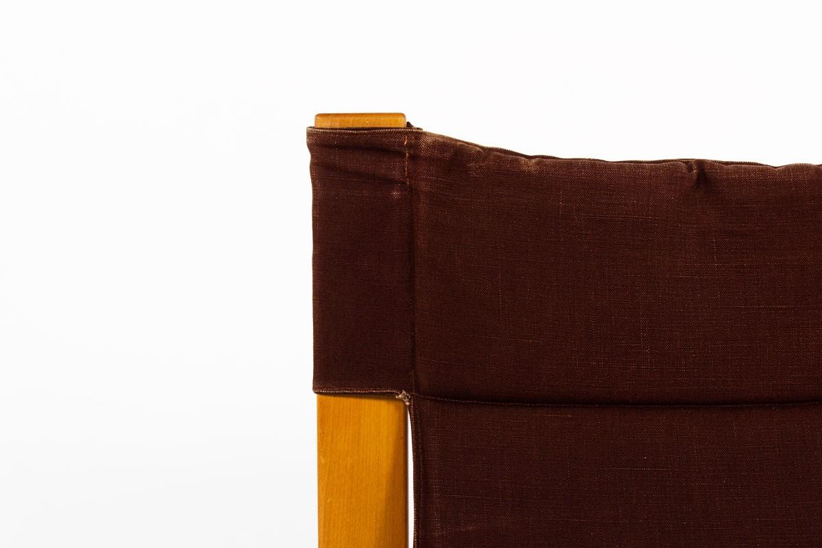 Chauffeuses en orme et tissu bordeaux édition Maison Regain 1980 set de 2