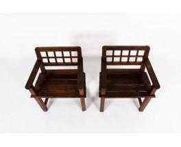 Armchairs in oak reconstruction design 1950 set of 2