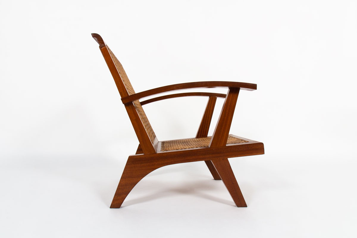 Armchairs in teak and caned 1950 set of 2