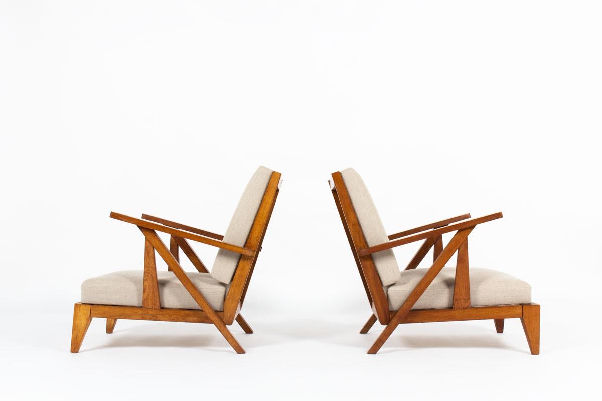 Fauteuils en chêne et lin naturel design reconstruction 1950 set de 2