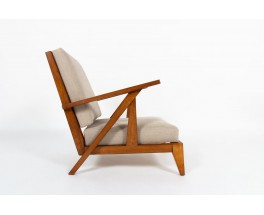Armchairs in oak with natural linen design reconstruction 1950 set of 2