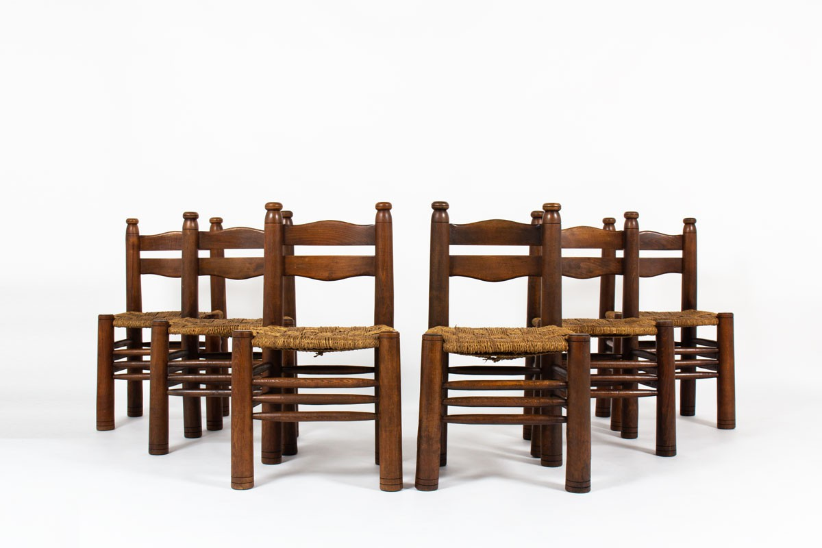 Charles Dudouyt chairs in oak and rope 1930 set of 6
