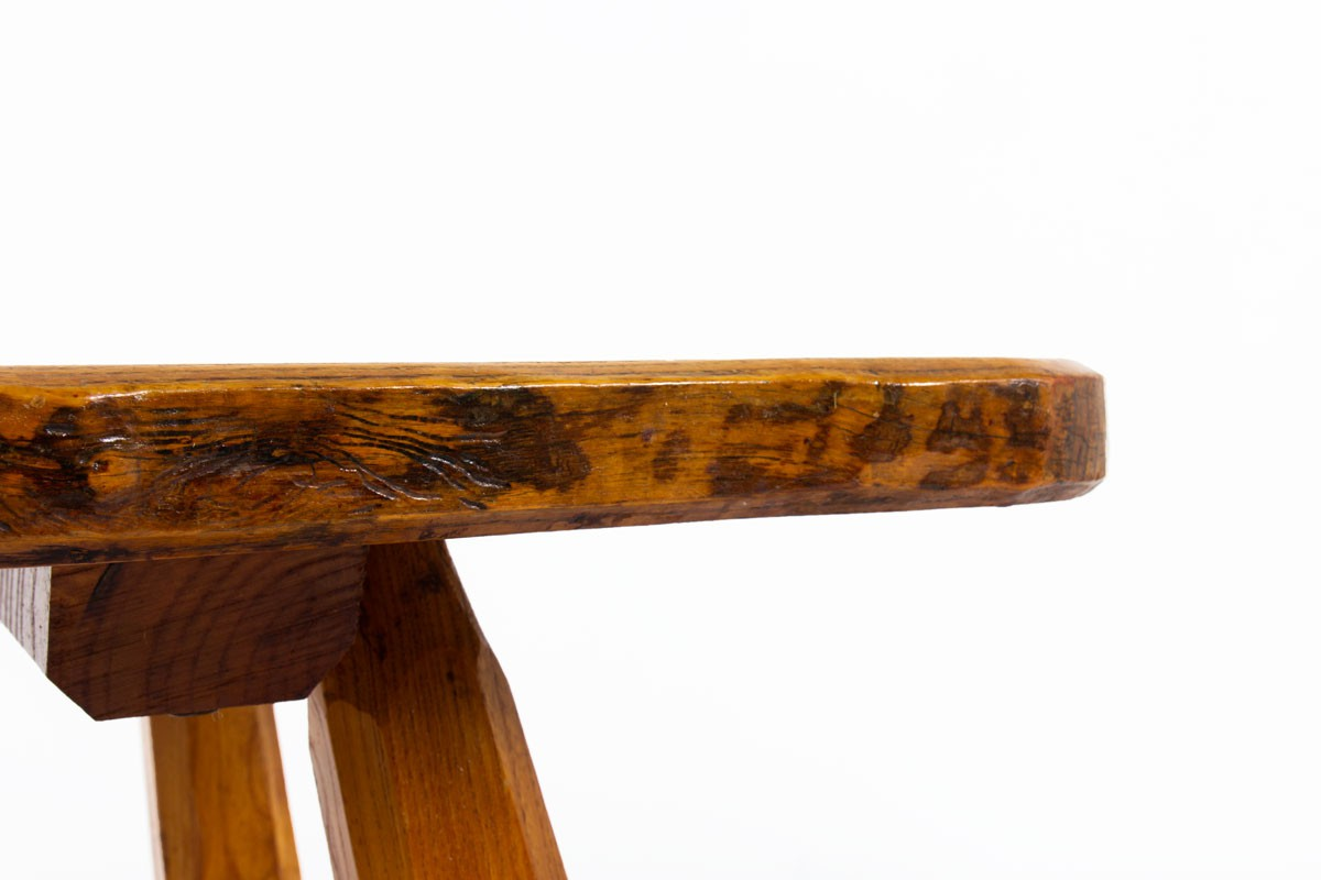 Console table in oak free-form Brutalist design 1950