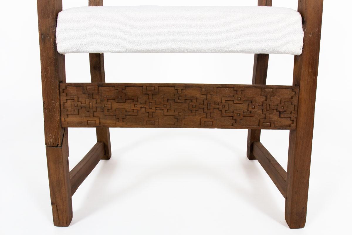 Armchair in oak and Maison Thevenon fabric 20th-century