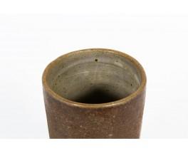 Vase rouleau céramique marron mat 1950