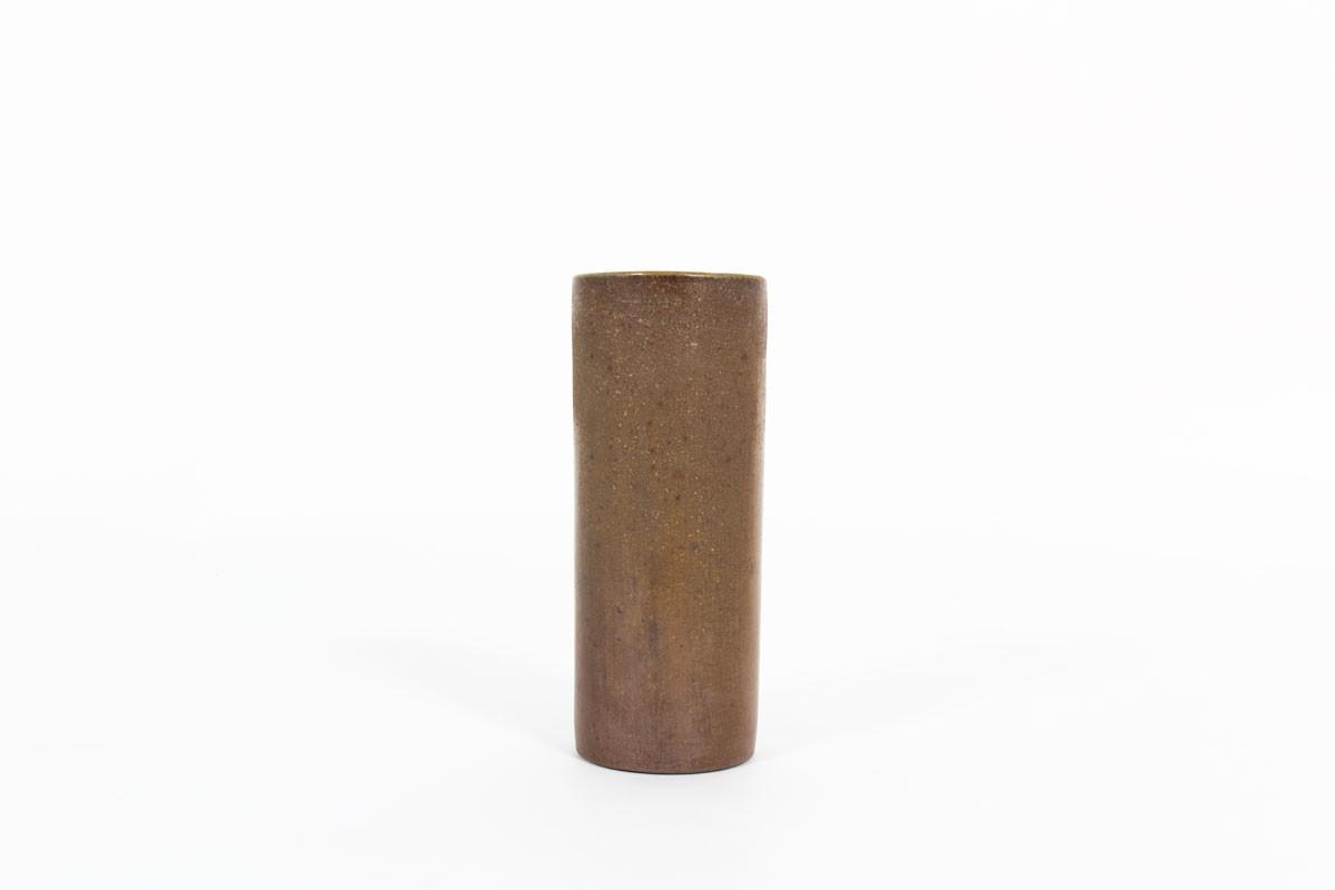 Roller vase in brown matte ceramic 1950